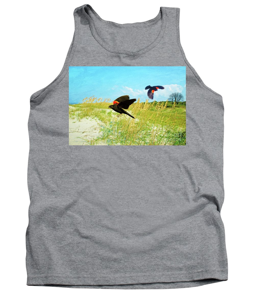 Red-winged Blackbirds Tank Top featuring the photograph Red-winged Blackbirds by Laura D Young