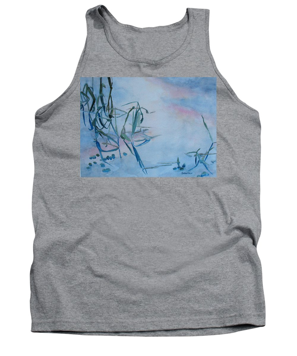 Reeds Tank Top featuring the painting Reeds At Sunset by Jenny Armitage