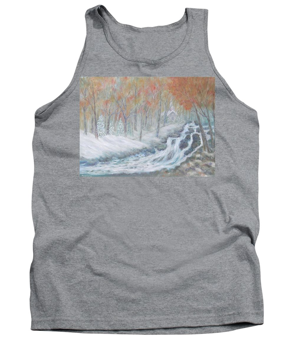 Snow; Landscape; Church Tank Top featuring the painting Reverence by Ben Kiger