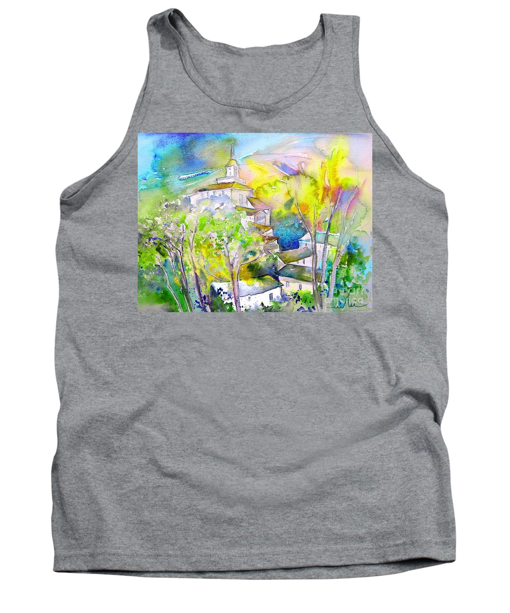Watercolour Travel Painting Of A Village In La Rioja Spain Tank Top featuring the painting Rioja Spain 04 by Miki De Goodaboom