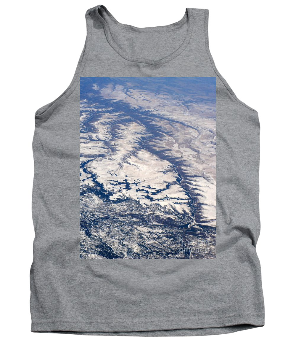 Aerial Tank Top featuring the photograph River Valley Aerial by Carol Groenen