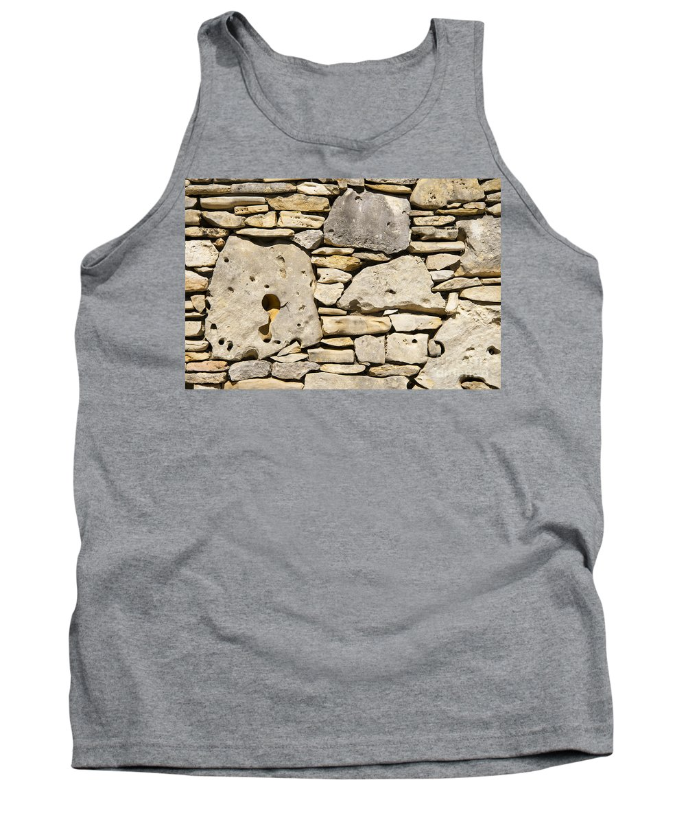 Wimberley Texas Rock Rocks Stone Stones Odds And Ends Pattern Patterns Shape Shapes Tank Top featuring the photograph Rock Architecture Four by Bob Phillips