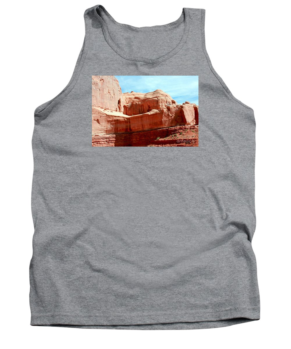 Arches National Park Tank Top featuring the painting Rock Formation Of Red Sandstone Arches National Park by Corey Ford