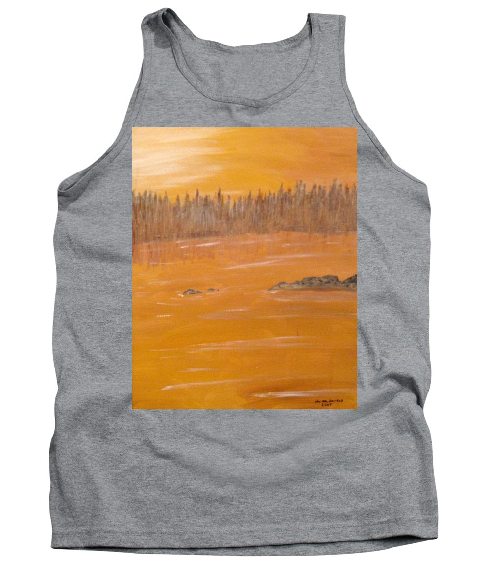 Northern Ontario Tank Top featuring the painting Rock Lake Morning 2 by Ian MacDonald