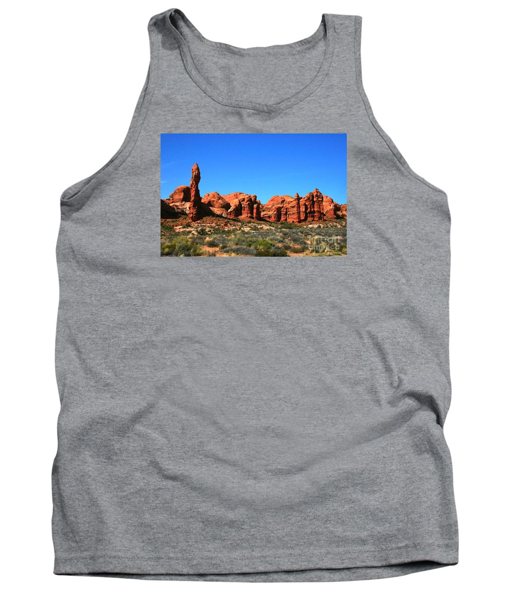 Arches National Park Tank Top featuring the painting Rock Pillar Sandstone Hoodoos Arces National Park by Corey Ford