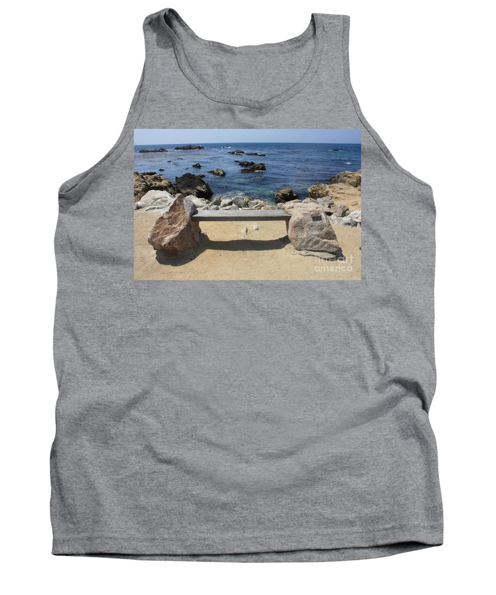 Seaside Bench Tank Top featuring the photograph Rocky Seaside Bench by Carol Groenen