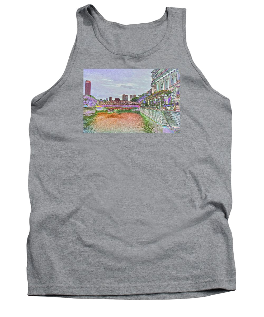 Cavenagh Bridge In Singapore Tank Top featuring the digital art Romance At The Cavenagh by Marie Loh