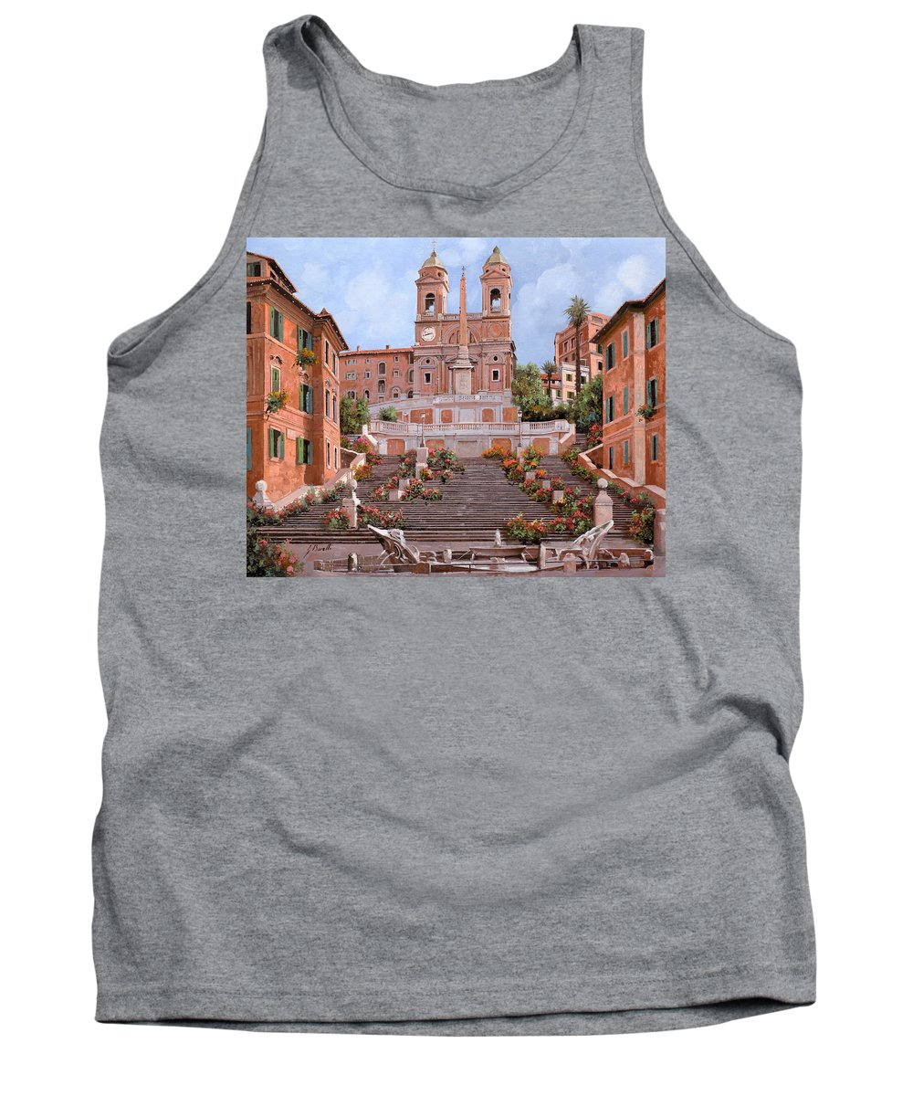 Rome Tank Top featuring the painting Rome-piazza Di Spagna by Guido Borelli