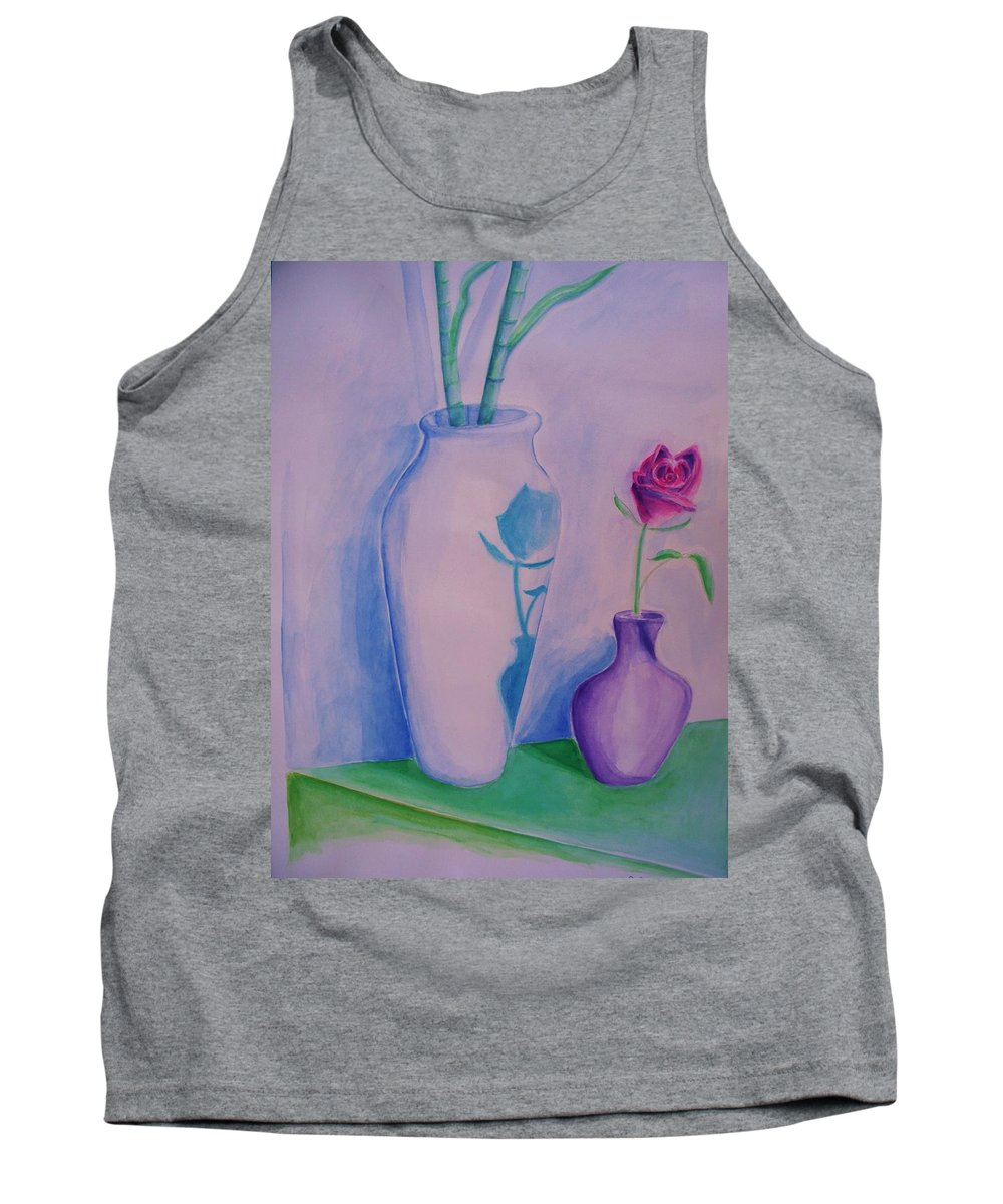 Red Rose Tank Top featuring the painting Roses In Vase by Eric Schiabor