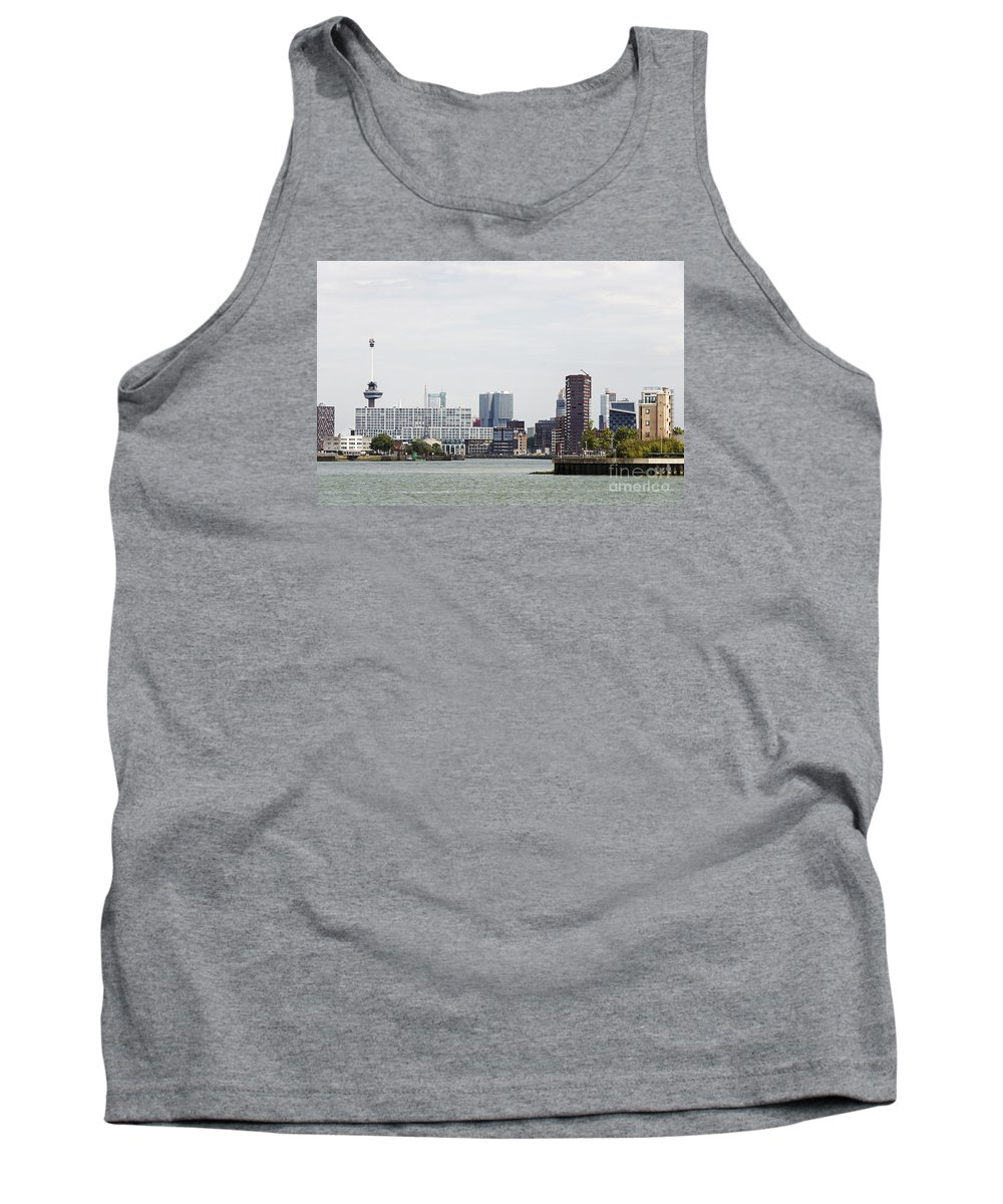 Rotterdam Tank Top featuring the photograph Rotterdam Skyline With Euromast by Compuinfoto