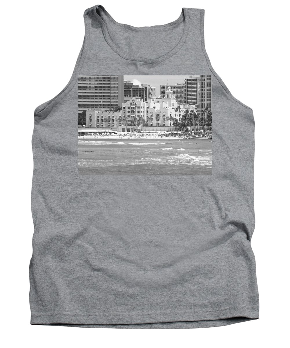Black And White Tank Top featuring the photograph Royal Hawaiian Hotel - Waikiki by Mary Deal