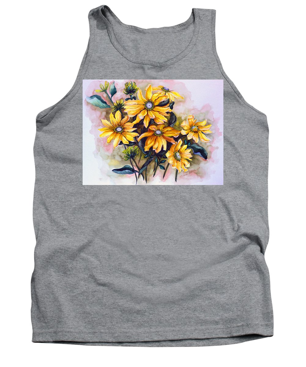 Flower Painting Sun Flower Painting Flower Botanical Painting  Original Watercolor Painting Rudebeckia Painting Floral Painting Yellow Painting Greeting Card Painting Tank Top featuring the painting Rudbeckia Prairie Sun by Karin Dawn Kelshall- Best