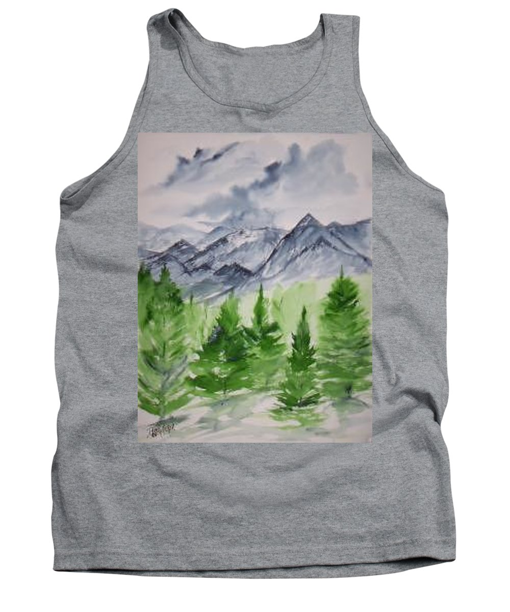 Plein Air Tank Top featuring the painting Ruidoso Nm Southwestern Mountain Landscape Watercolor Painting Poster Print by Derek Mccrea