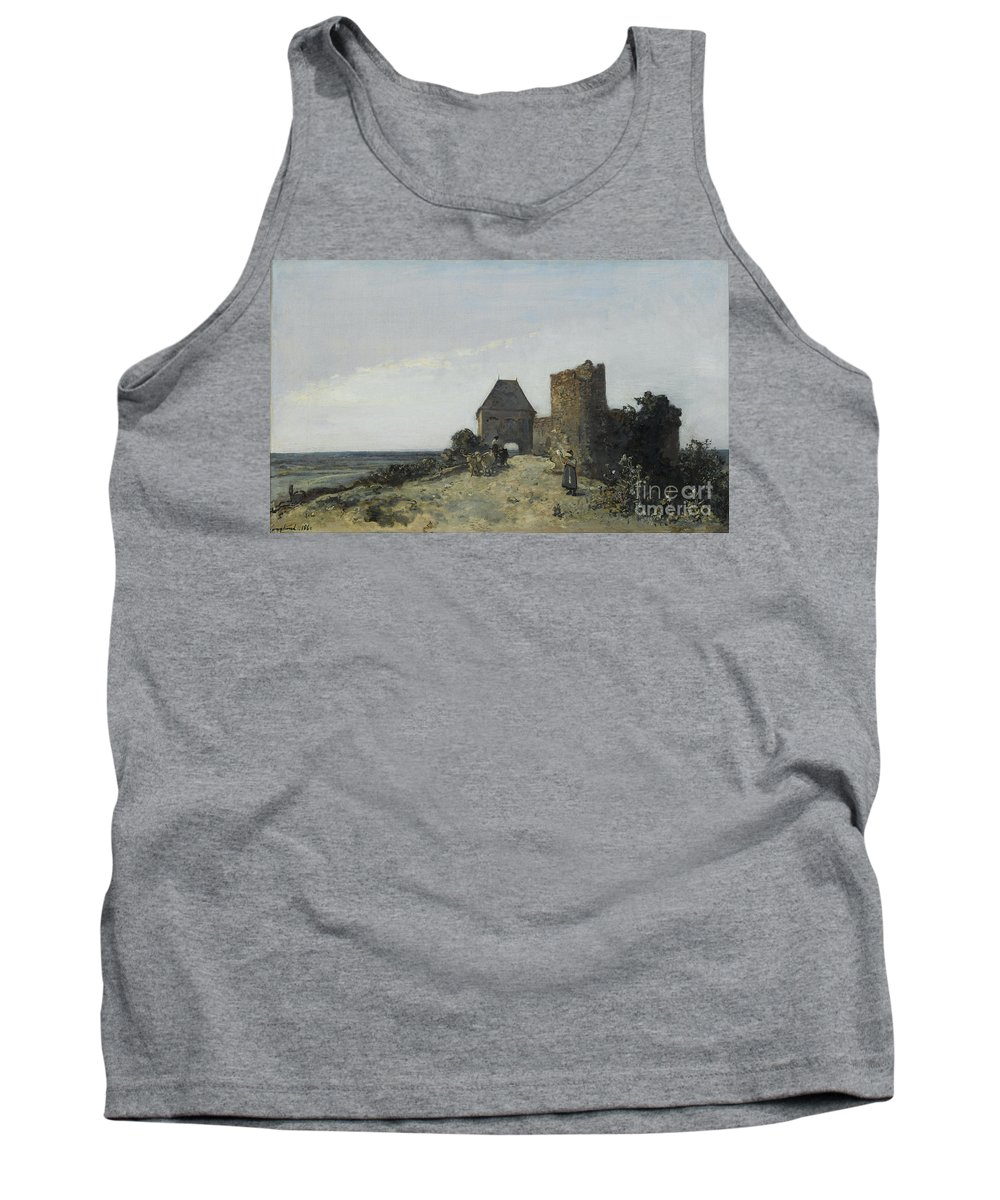 Johan Barthold Jongkind Tank Top featuring the painting Ruins Of The Rosemont Castle by Celestial Images
