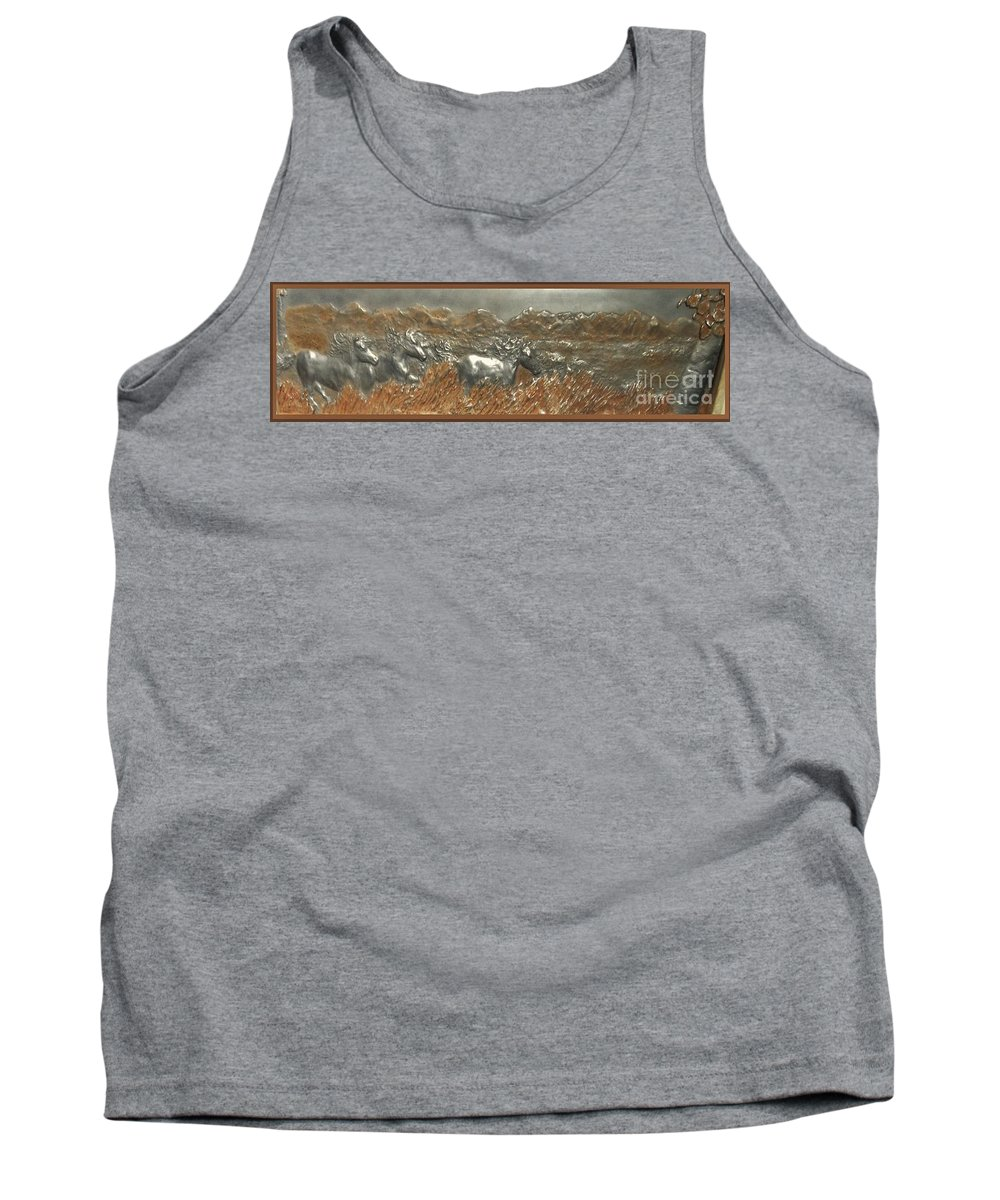 Horses....running....western....handsculpted....iron..wind....iron...................sculpture Tank Top featuring the sculpture Running With The Wind by Lenna-kay