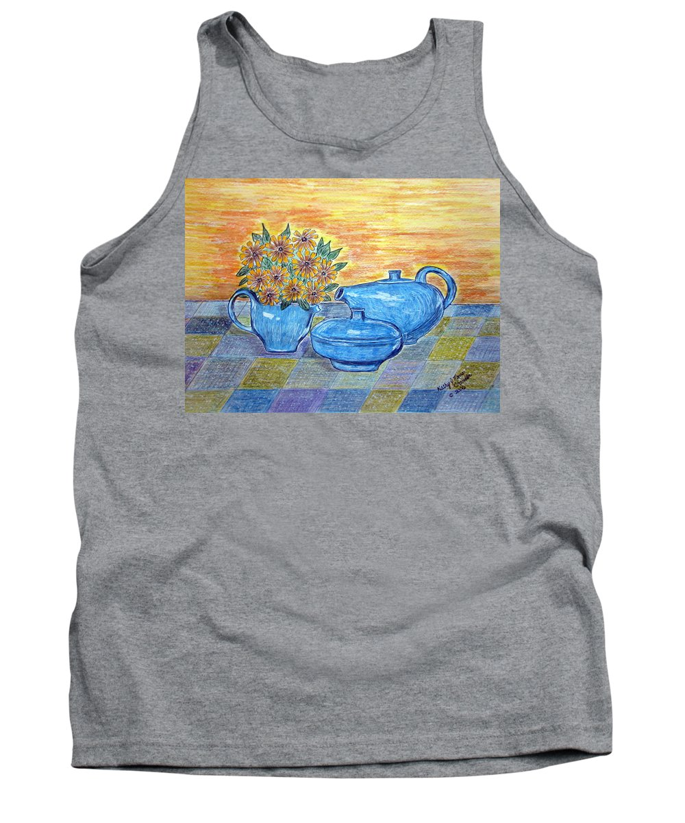 Russell Wright China Tank Top featuring the painting Russel Wright China by Kathy Marrs Chandler