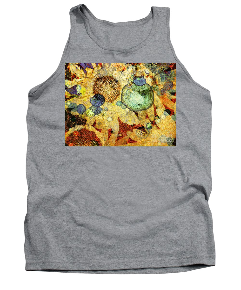 Texture Tank Top featuring the photograph Rust And Flowers by Tara Turner