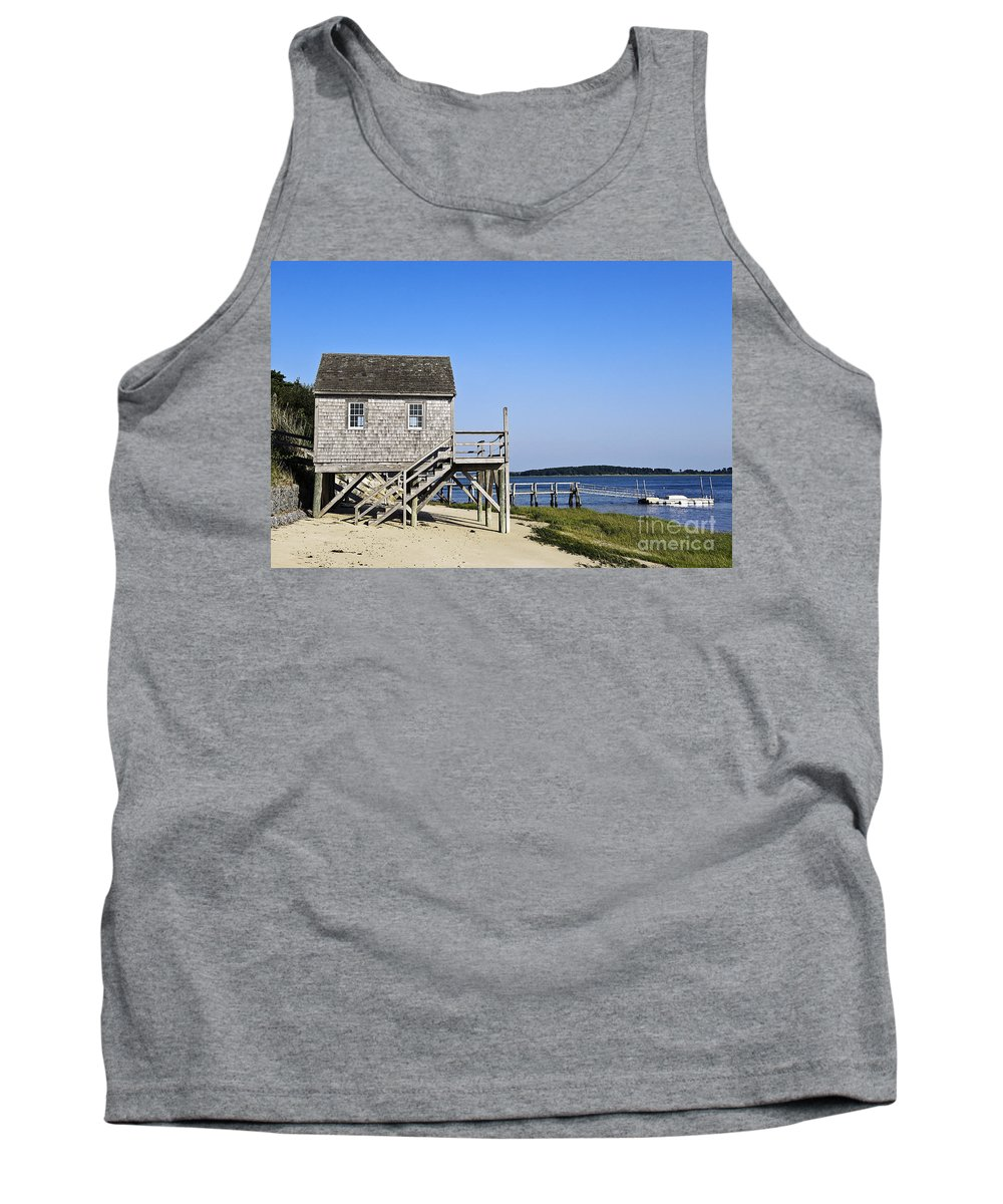 Beach Tank Top featuring the photograph Rustic Boathouse On The Beach. by John Greim