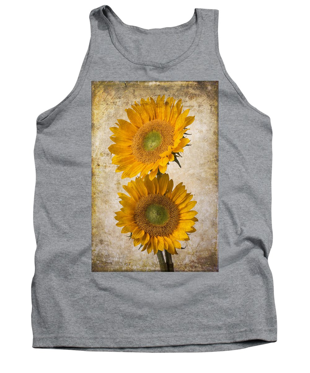 Sunflower Tank Top featuring the photograph Rustic Sunflowers by Garry Gay