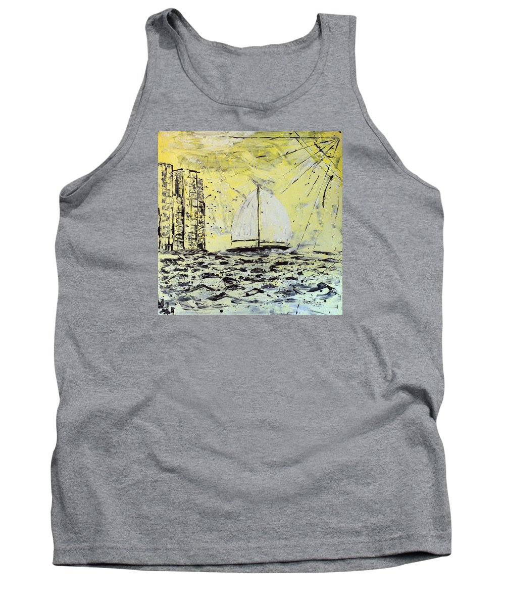 Sailboat With Sunray Tank Top featuring the painting Sail And Sunrays by J R Seymour