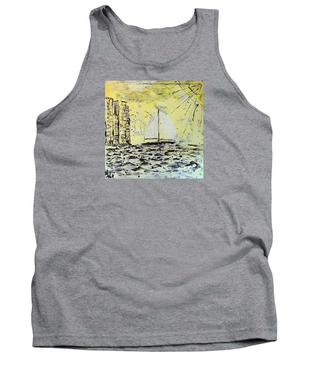 Abstract Tank Top featuring the painting Sail And Sunrays by J R Seymour