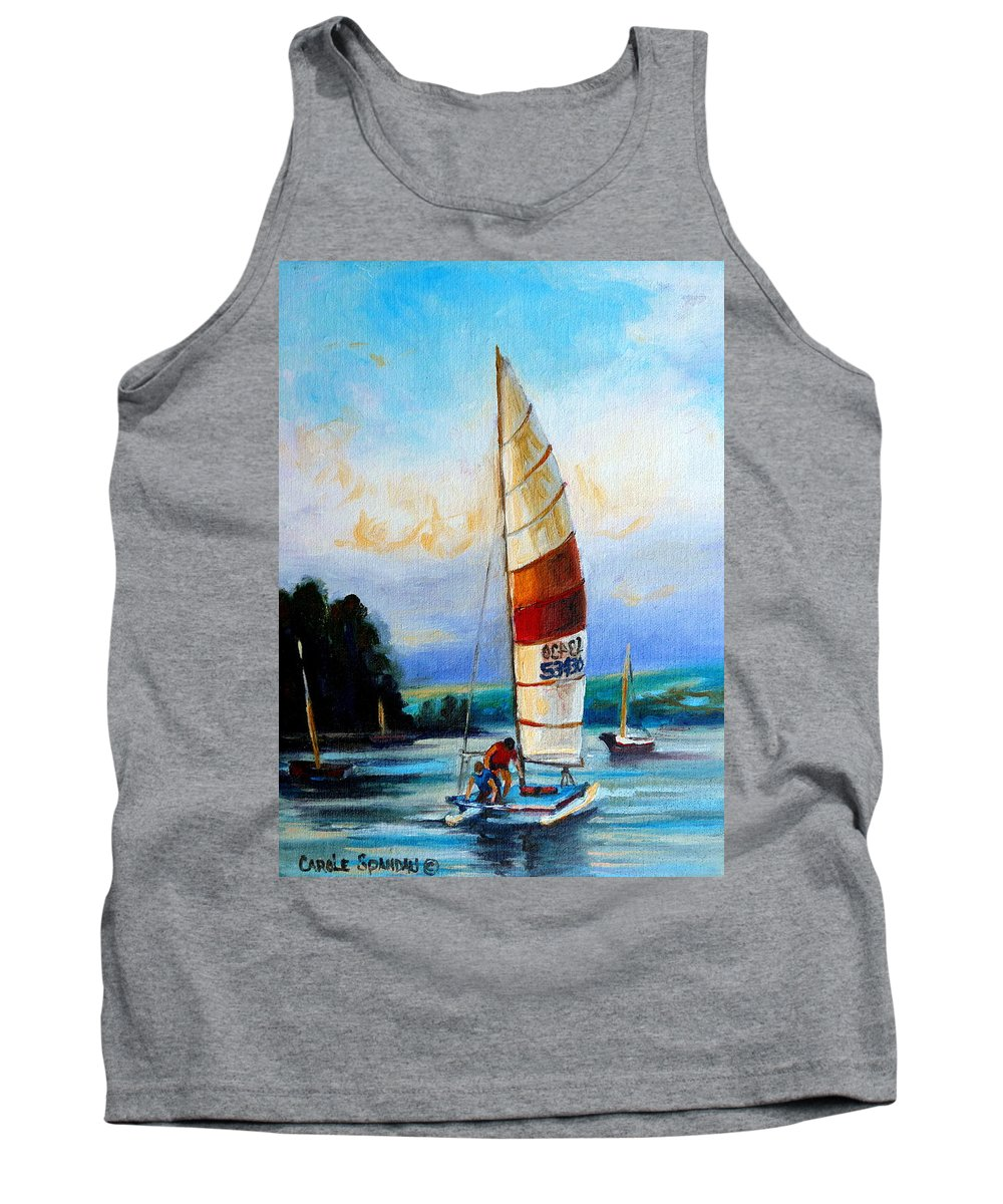 Sail Boats On The Lake Tank Top featuring the painting Sail Boats On The Lake by Carole Spandau