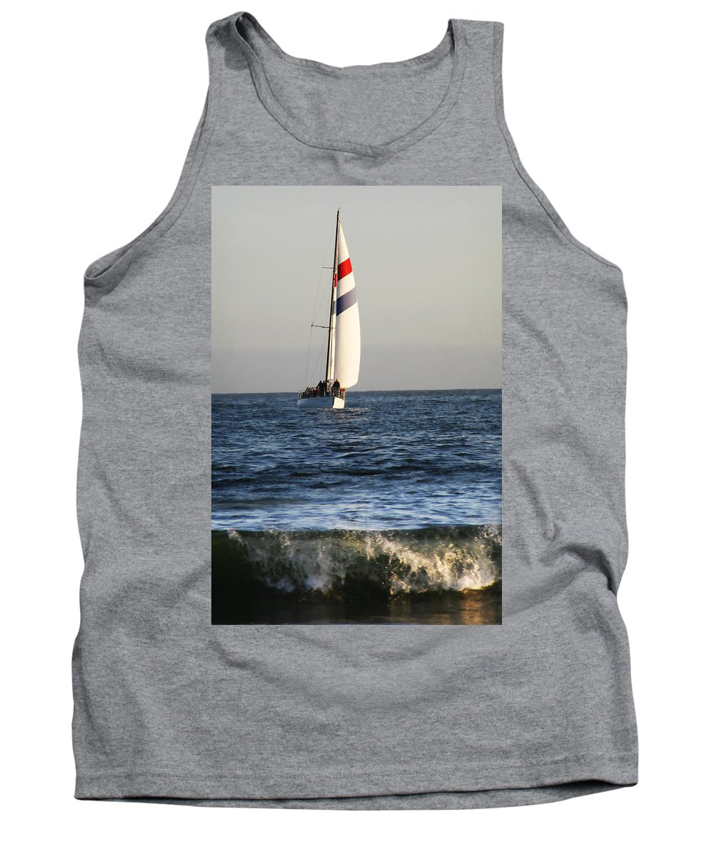 Sail Tank Top featuring the photograph Sailboat Coming Ashore 1 by Marilyn Hunt