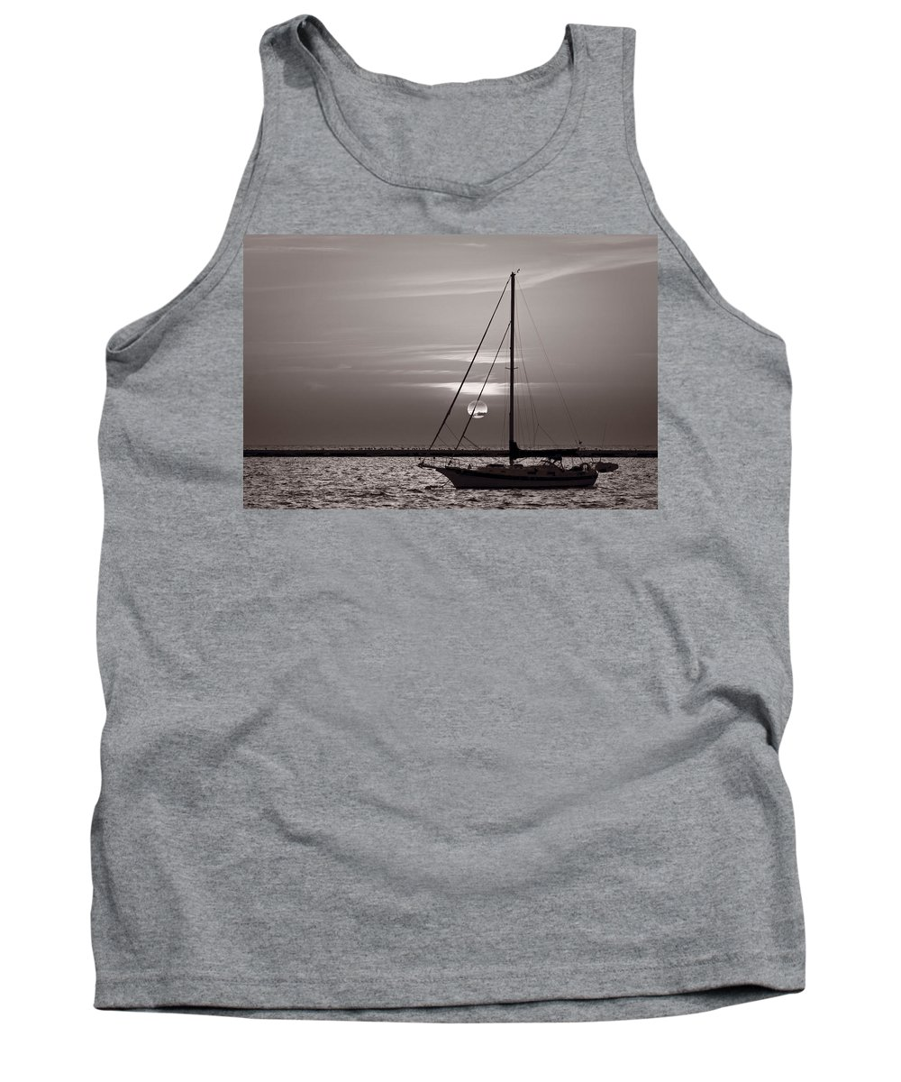 Boat Tank Top featuring the photograph Sailboat Sunrise In B And W by Steve Gadomski