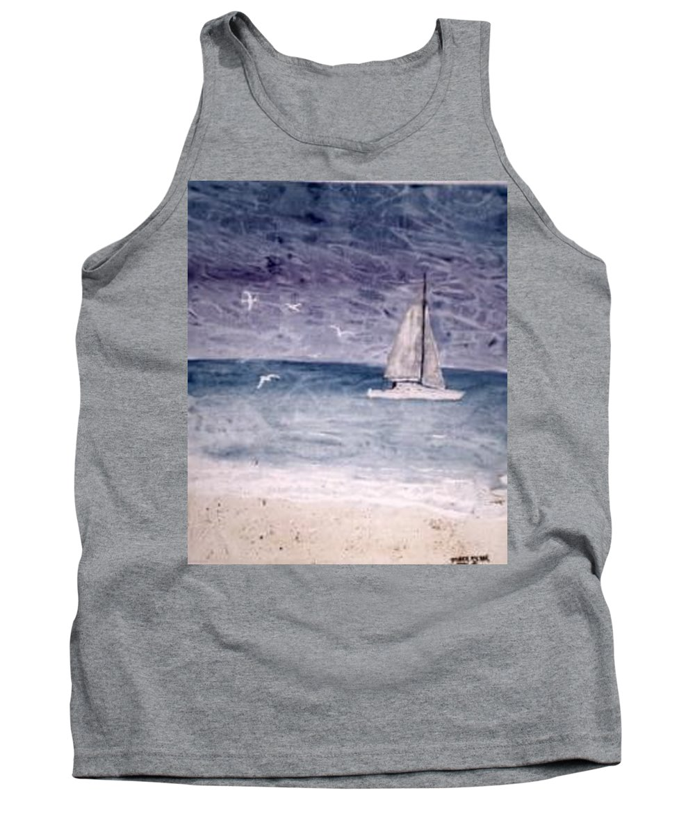 Watercolor Seascape Sailing Boat Landscape Painting Tank Top featuring the painting Sailing At Night Nautical Painting Print by Derek Mccrea