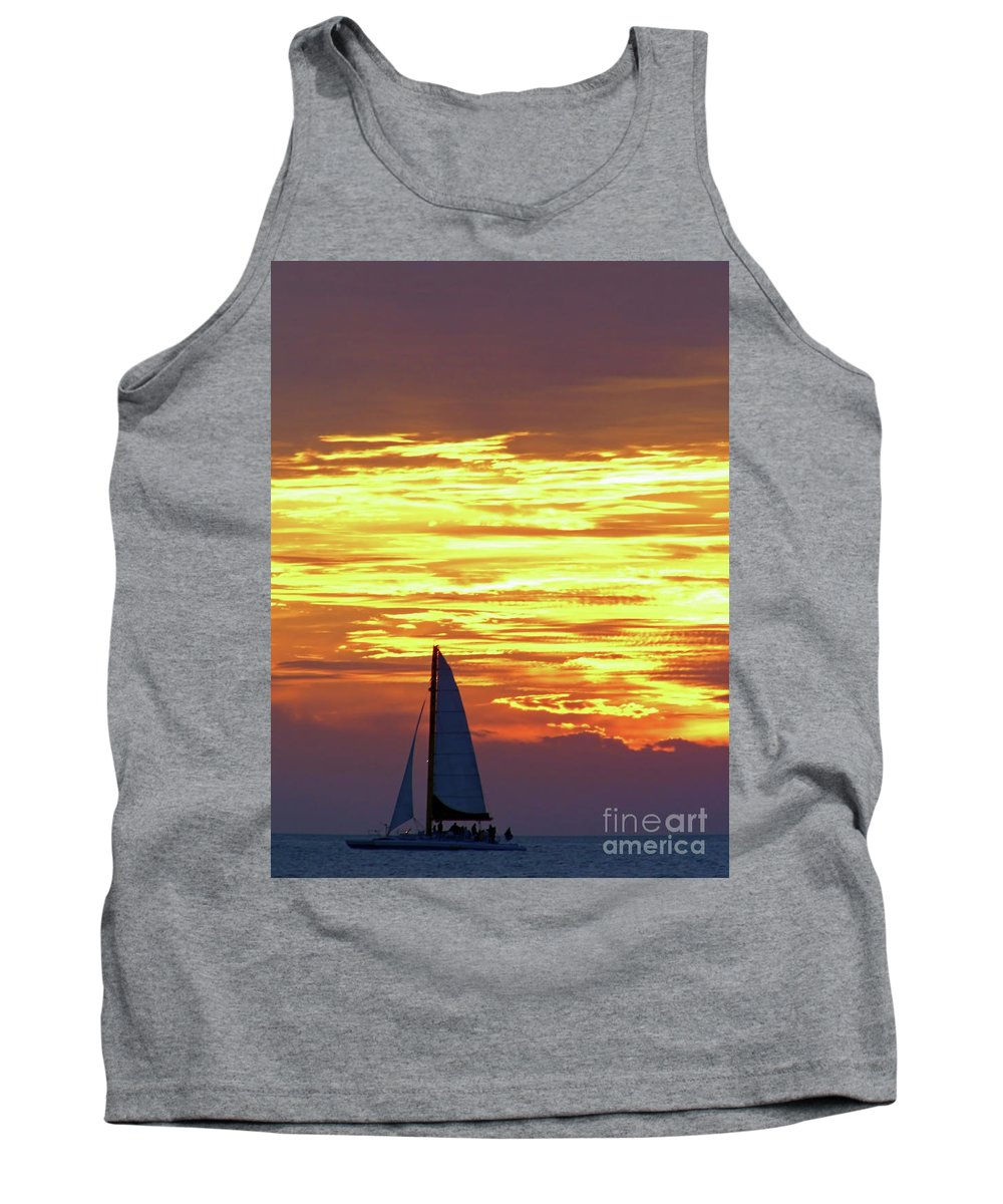 Boat Tank Top featuring the photograph Sailing Past The Sunset by D Hackett