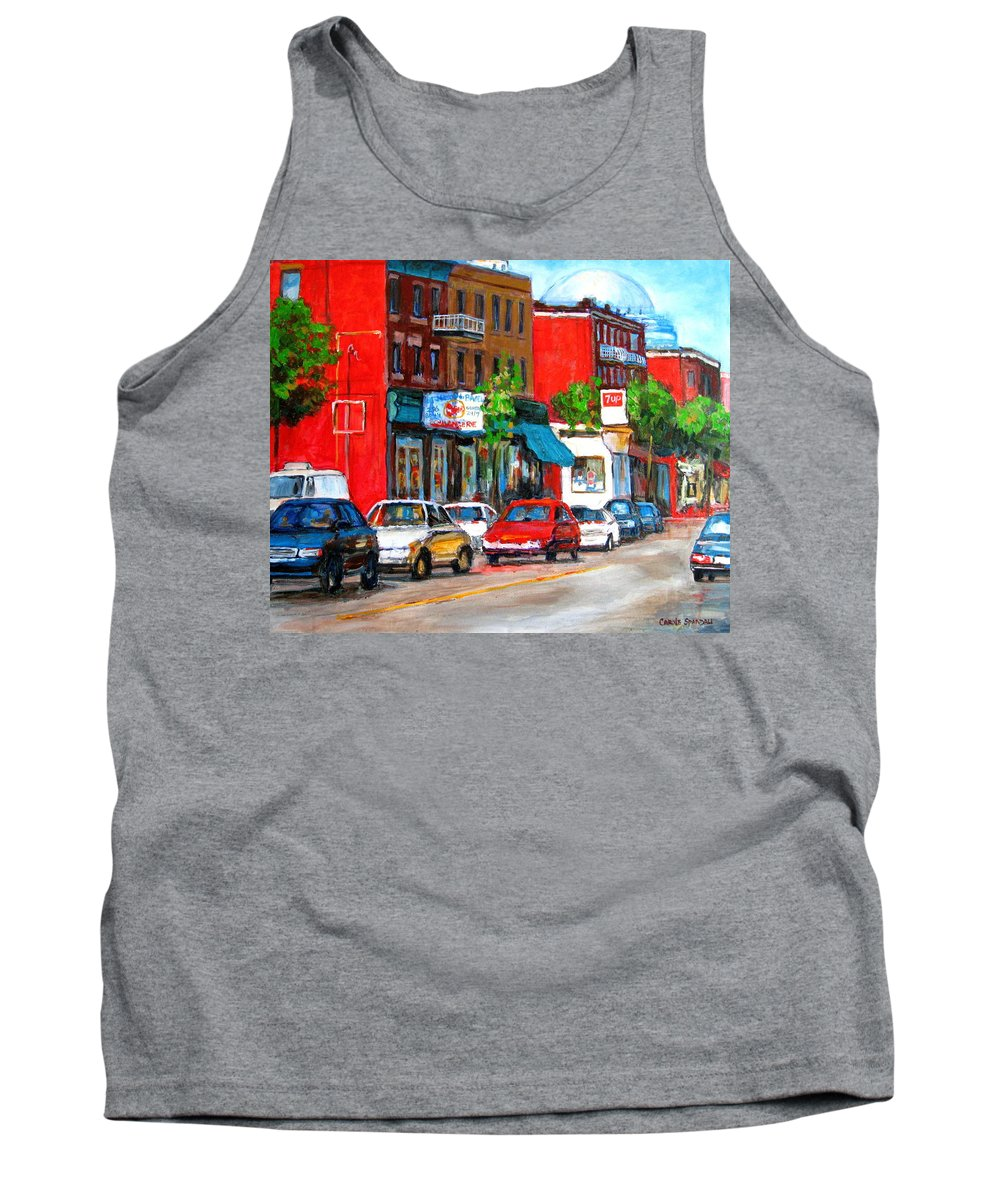 St.viateur Bagel Tank Top featuring the painting Saint Viateur Street by Carole Spandau