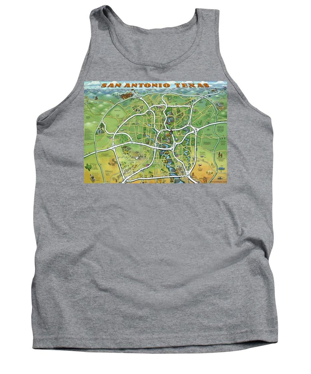 San Antonio Tank Top featuring the painting San Antonio Texas Cartoon Map by Kevin Middleton