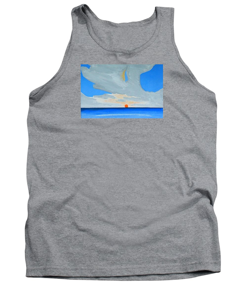 Sunrise Seascape Tank Top featuring the painting San Juan Sunrise by Dick Sauer