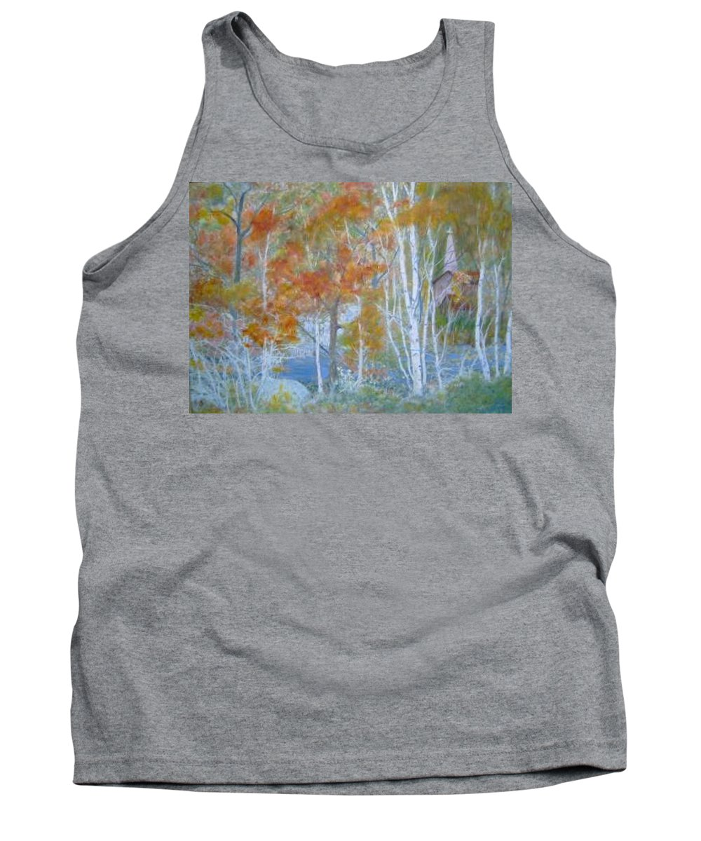 Church; Landscape; Birch Trees Tank Top featuring the painting Sanctuary by Ben Kiger