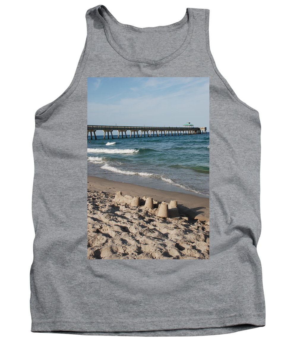 Sea Scape Tank Top featuring the photograph Sand Castles And Piers by Rob Hans