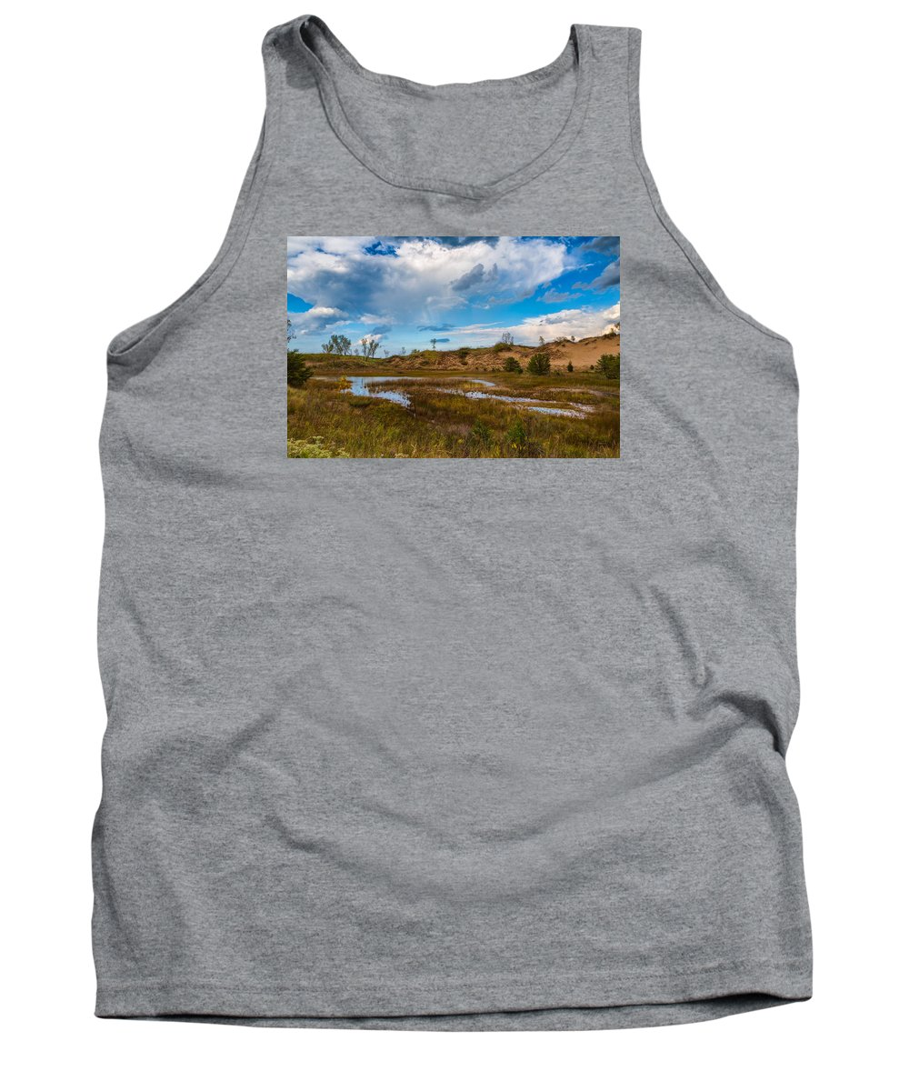 Sky Tank Top featuring the photograph Sand Dunes In Indiana by John M Bailey