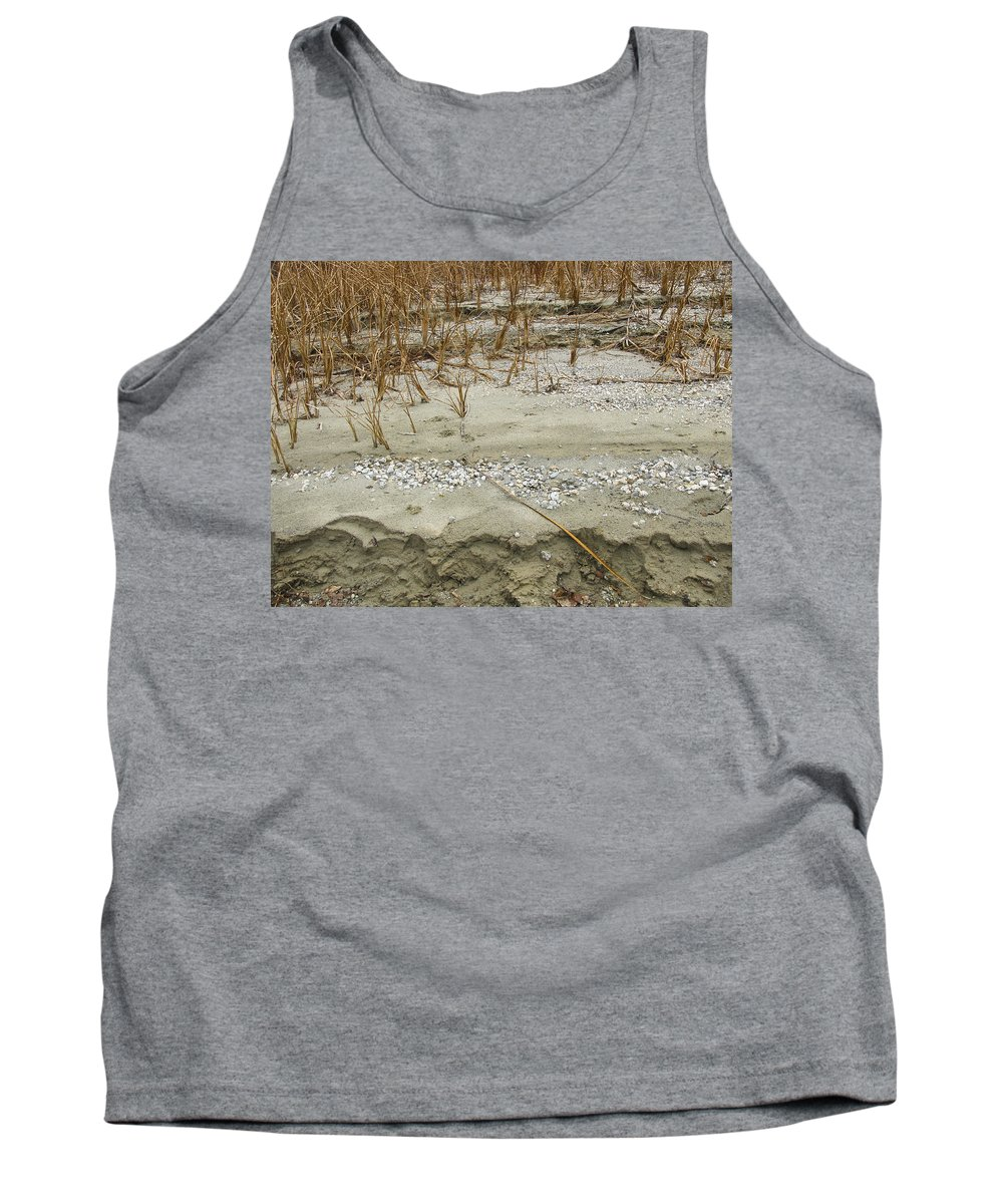 Abstracts Tank Top featuring the photograph Sand Stone And Reeds by Karen W Meyer