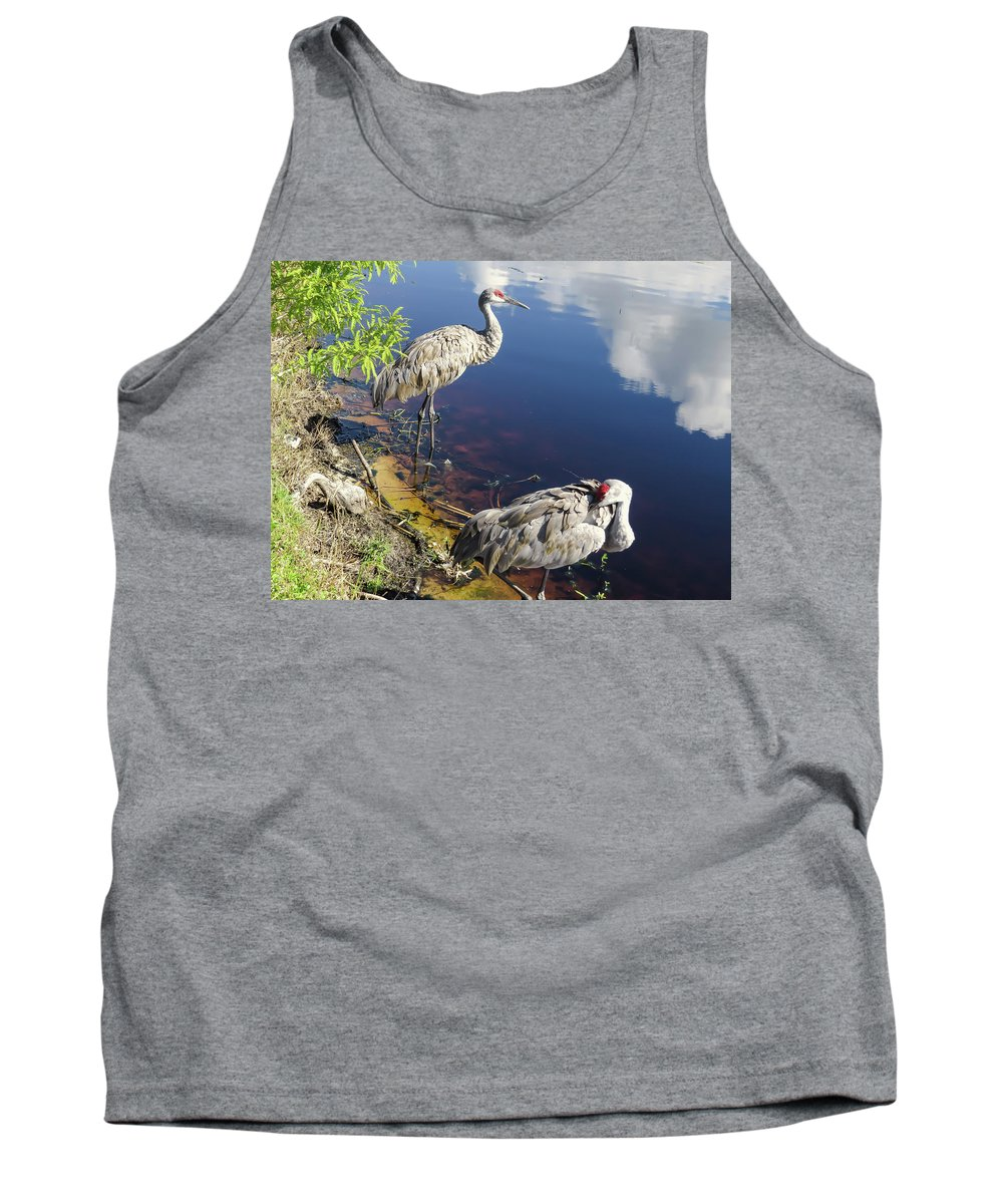 Sandhill Cranes Tank Top featuring the photograph Sandhill Cranes At The Lake by Zina Stromberg
