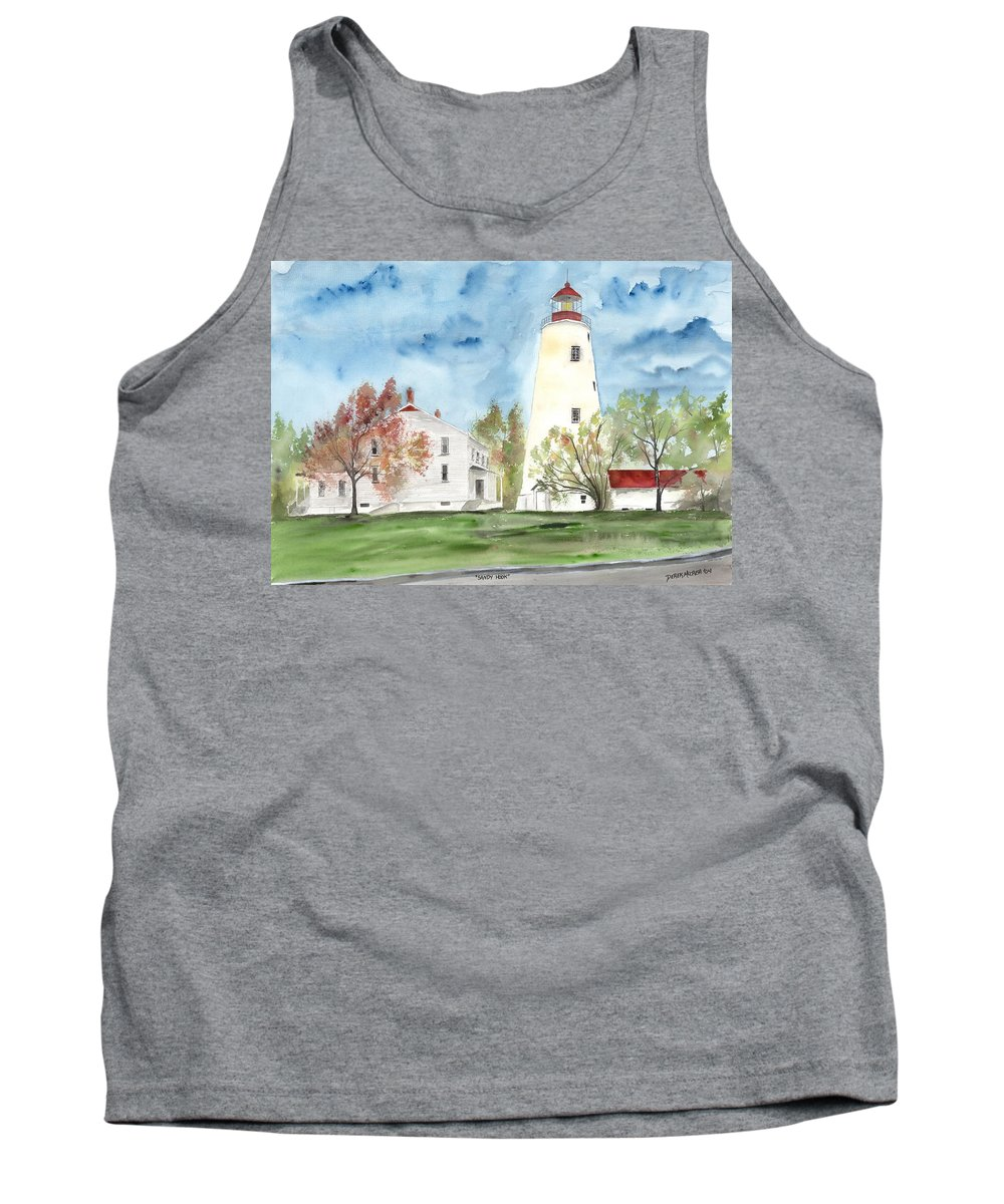 Watercolor Tank Top featuring the painting Sandy Hook Lighthouse by Derek Mccrea