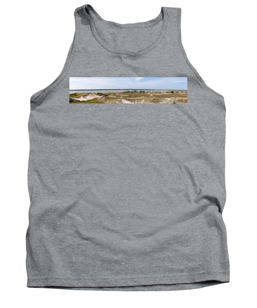 Sandy Neck Tank Top featuring the photograph Sandy Neck Lighthouse With Fishing Boat by Charles Harden