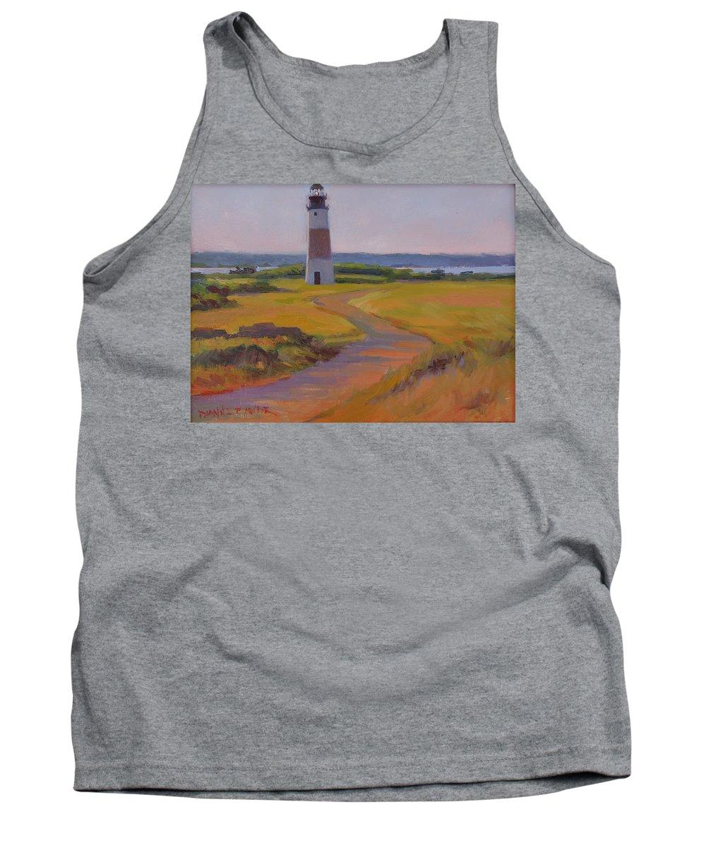 Sankaty Head Lighthouse Tank Top featuring the painting Sankaty Head Lighthouse by Dianne Panarelli Miller