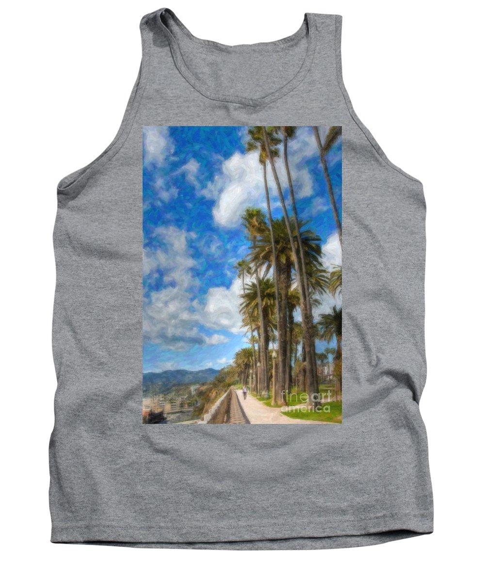 Looking North Tank Top featuring the photograph Santa Monica Ca Palisades Park Bluffs Palm Trees by David Zanzinger