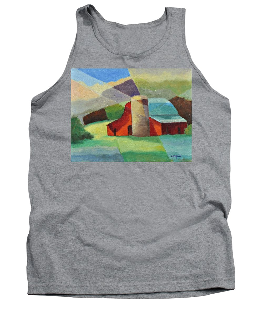 Coloful Abstract Red Barn Tank Top featuring the painting Clayton Winery by Ginger Concepcion