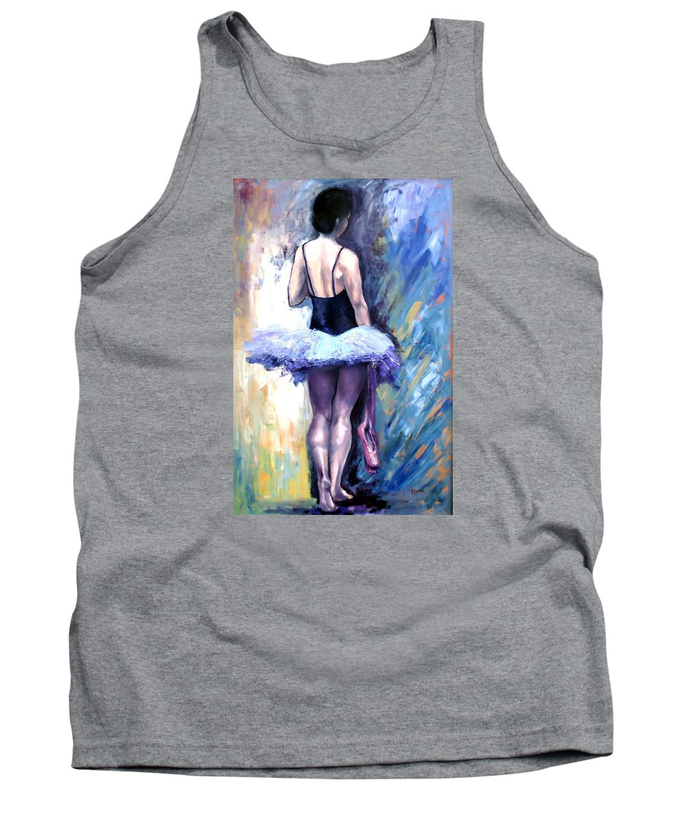 Ballerina Tank Top featuring the painting Satin Shoes by Janet Lavida