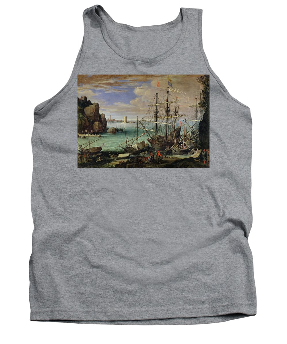 Scene Tank Top featuring the painting Scene Of A Sea Port by Paul Bril