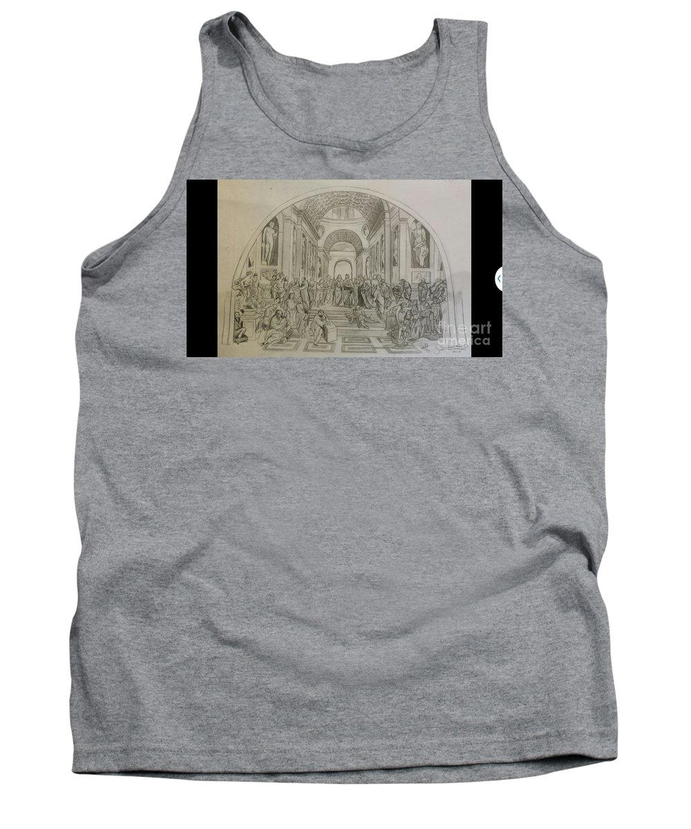 Raphael Tank Top featuring the drawing School Of Athens/ Homage To Raphael by Jude Darrien