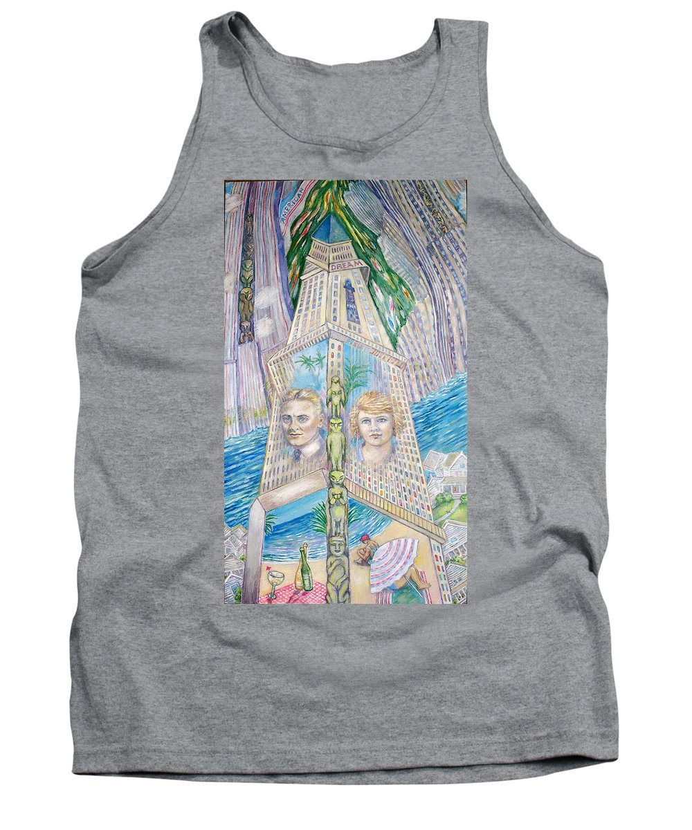 New York Fantasy Tank Top featuring the painting Scott And Zelda In Their New York Dream Tower by Patricia Buckley