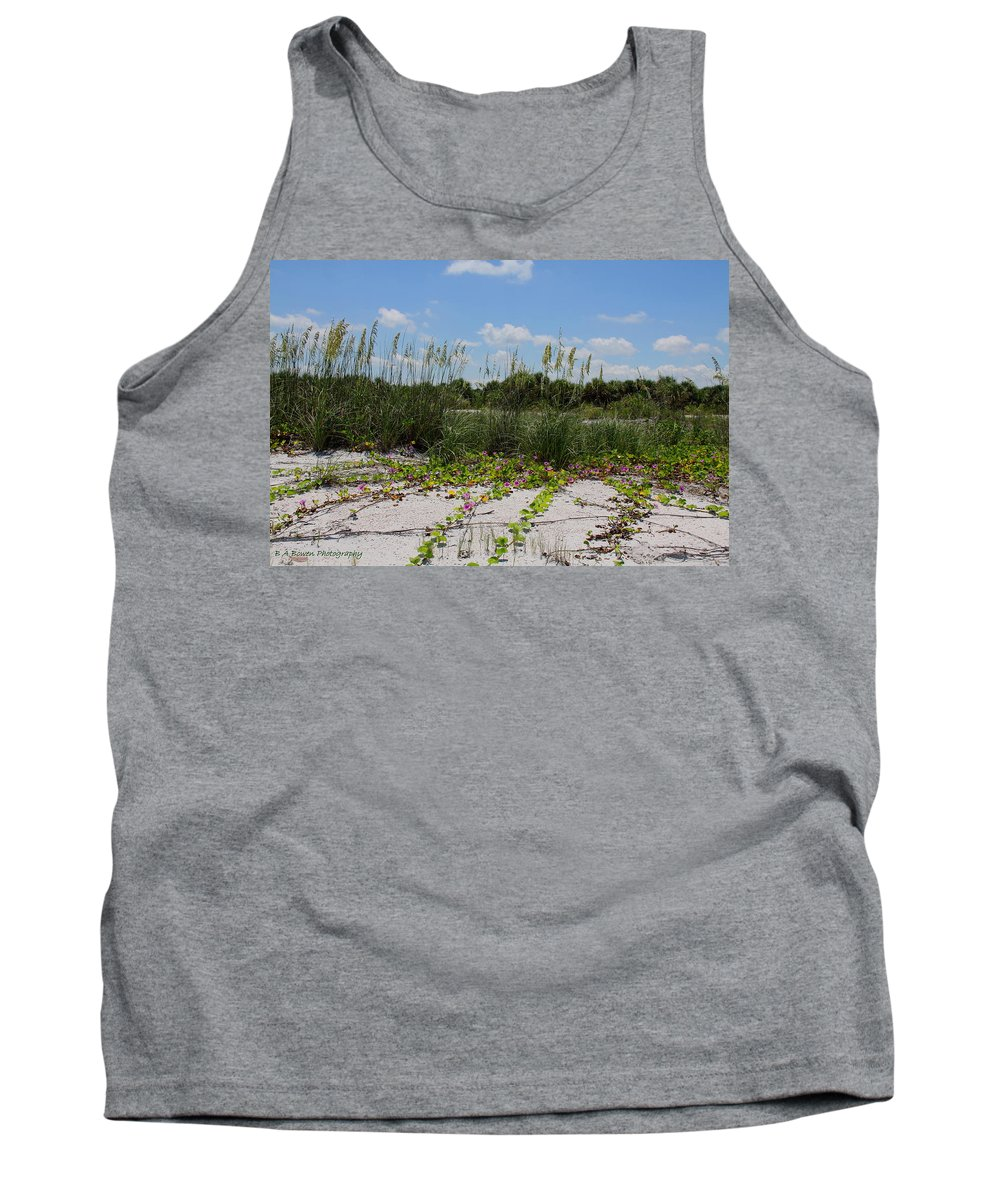 Beach Tank Top featuring the photograph Sea Oats And Blooming Cross Vine by Barbara Bowen