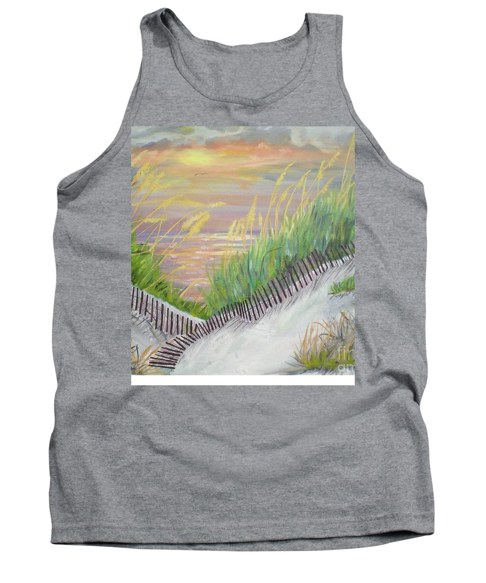 Seascape Tank Top featuring the painting Sea Oats by Hal Newhouser
