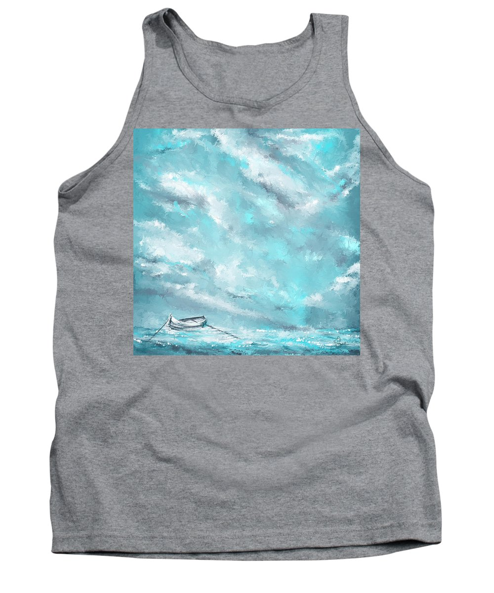 Turquoise Art Tank Top featuring the painting Sea Spirit - Teal And Gray Art by Lourry Legarde